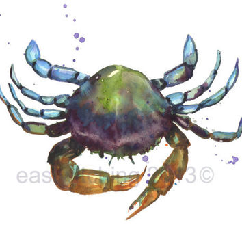 CRAB PRINT, deep and mysterious, beach house art, watercolor crab, for the sailor, crab, cancer zodiac gift
