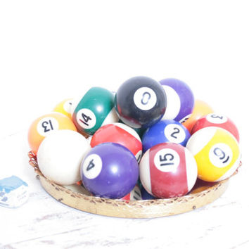 Antique Complete Set of Miniature Billiard Balls from a Pool Game