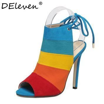 2016 New Fashion Lace-up Women Peep Toe High Heels Rainbow Shoes Woman Sexy Sandals Sl