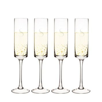 Personalized Gold Dot Contemporary Champagne Flutes (Set of 4)
