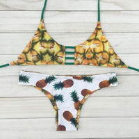 Pineapple Printed Cut-Out Triangle Bikini
