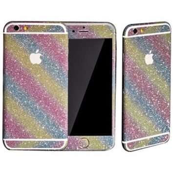 Rainbow Glitter Full Body Decal Sticker for iPhone 6 6s