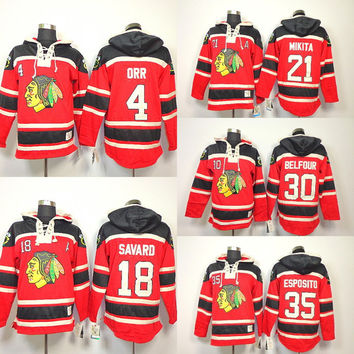 Chicago Blackhawks Old Time Hockey Hoodie #4 Bobby Orr #18 Denis Savard #30 Ed Belfour #35 Tony Esposito 21 Stan Mikita Heavyweight Hoodies