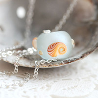 Seashell jewelry, Layering Beach necklace, Water blue necklace, Seaglass jewelry, Lampwork SRA, Minimal, Simple, Seashell Necklace