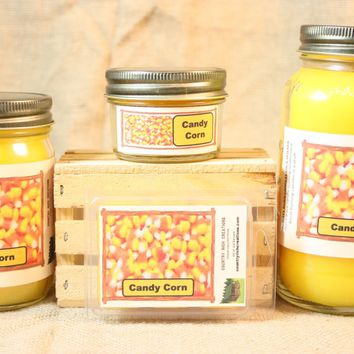 Candy Corn Candle and Wax Melts, Candy Scent Candle, Highly Scented Candles and Wax Tarts, Halloween Candle, Fall Scent, Mason Jar Candle