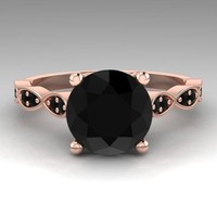 Black Diamond Ring Rose Gold Bridal Jewelry