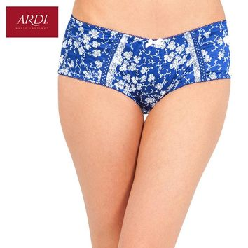 Woman's Briefs Satin Floral Printing White with Black Blue with White