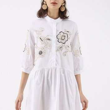 Garden Time Embroidered Dolly Dress with Beads Embellishment in White