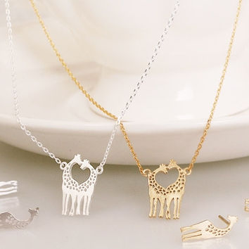 Gold and Silver Giraffe Necklace, Cute Necklace, Korean Jewelry, Womens Necklace, Unique Necklace, Cute Jewelry