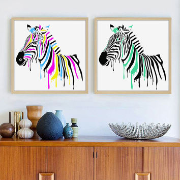 Modern Fashion Simple Animal Zebra A4 Art Print Poster Mural in Canvas Painting wall Pictures for Living Room Home Decor AN042