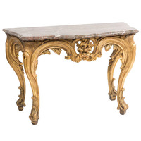 French Louis XV Giltwood and Rouge de Reims Marble Console Table, circa 1760