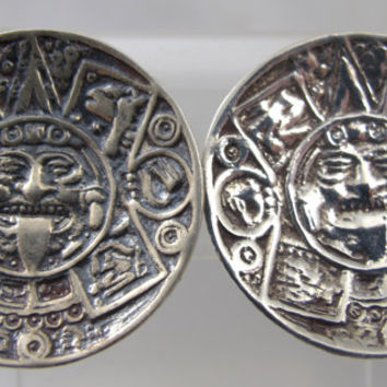 "Vintage Sterling Mayan Calendar Earrings Aztec Screw Back Hallmarked TVE 1"" Mexican"