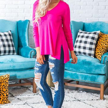 Madison Square Shift Sweater in Hot Pink