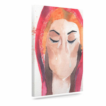 "Rebecca Bender ""Mary Magdelene"" Beige Red Canvas Art"