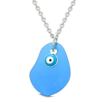 Handcrafted Sea Glass Ocean Blue Amulet Evil Eye Protection Lucky Charm Magic Powers 22 Inch Necklace