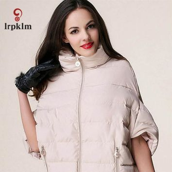 2017 Short Bat Sleeve Light Overcoat Yellow Stand up Collar Outerwear Slim Duck Down Parkas Light Warm Coat Women Jacket YY27