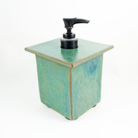 Handmade Ceramic Soap Dispenser - Rustic Zen Decor - Blue-Green Decor