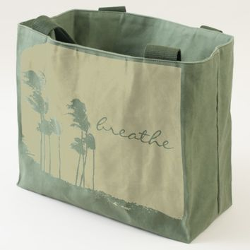 """Breathe"" palm trees photo olive green canvas tote"