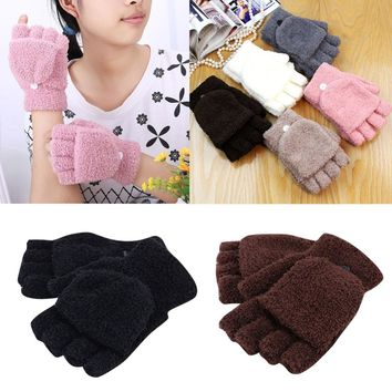 Velvet Winter Warm Men Women Gloves Cute Half Finger Turn Over Flip Knitted Mittens Hot Sale 6 Colors Gloves Without Fingers