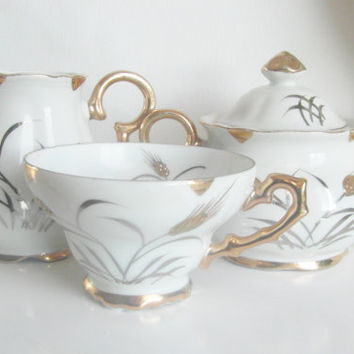 Hand painted Japanese tea set | cream saucer tea cup china | white gold | gold gild wheat shaffs | Japanese Made in Japan