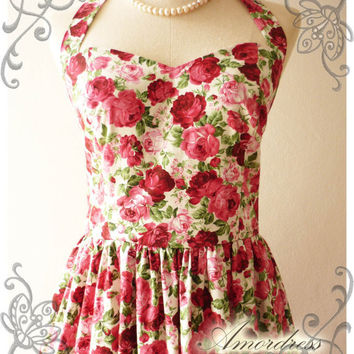 Rose Floral Dress Party Homecoming Birthday Bridesmaid Lovely Tea Dress Vintage Inspired Cerise Pink Red Rose Halter Neck Detachable Bow