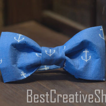 Anchor Bow Tie / Anchor Bowtie / Cotton Bow Tie / Boys Blue Bowtie / Wedding Bow Tie / Men gift / Mens bow tie / Sea bow tie. Men Accesories