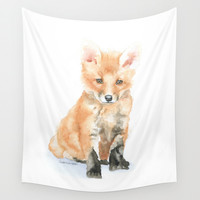 Baby Fox Watercolor Painting - Woodland Animal Wall Tapestry by Susan Windsor