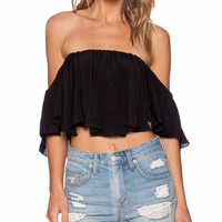 Chia Off The Shoulder Ruffle Crop Top in Black