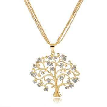 Unique Crystal Tree Of Life Necklaces Pendants Gold Plated Chains