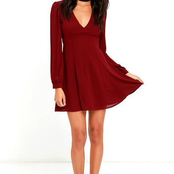 How Sweet Wine Red Long Sleeve Dress