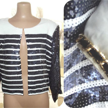 Vintage 80s Navy Blue & White Sequin Striped Nautical Cropped Jacket Formal Trophy Blazer L Large