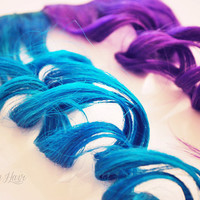 READY TO SHIP // Blue and purple // clip in extensions