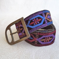 Embroidered belt/ vintage embroidery belt with metal buckle/ bohemian/ hippie/ boho belt/ black brown blue purple burgundy size S-M