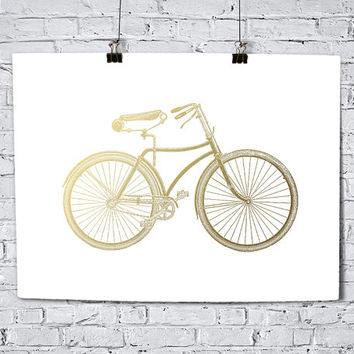 Fixie Bicycle Faux Gold Foil Art Print - Vintage Engraving - Bedroom Decor - Bathroom- Housewarming Gift - Wedding Gift - Baby Nursery Decor