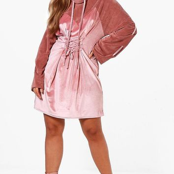 Plus Ava Velvet Flare Sleeve Lace Up Dress | Boohoo