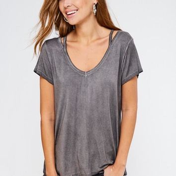 Vintage Wash Charcoal Cut Out Sleeve Top