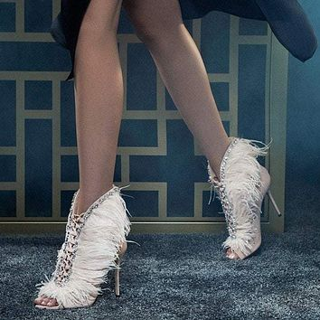 Diamond Feather Peep Toe Stiletto High Heel Ankle Boot Sandals