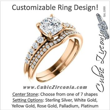 CZ Wedding Set, Style 05-37 feat The Rachelle engagement ring (Customizable Round Prong)