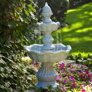 2-Tier Outdoor Fountain with Pineapple Top in Weather Resistant Resin