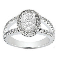 Engagement Ring - Oval Diamond Halo Engagement Ring Pave Set Split Band 0.88 tcw. In 14K White Gold - ES173