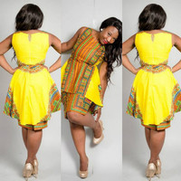 Traditional African Print Dashiki Party Dress Plus