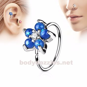 Blue Opal Glitter Set Flower Petals CZ Center 316L Surgical Steel Hoop Ring for Nose Ear Cartilage Daith Rook