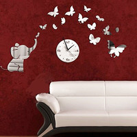 Mirror Stylish Strong Character Decoration Butterfly Clock [4918605572]