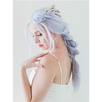 Pastel Light Silver Blue Lilac Long Synthetic Lace Front Wig