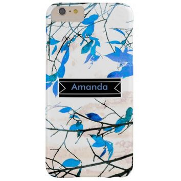 pretty blue and white custom case to personalize barely there iPhone 6 plus case