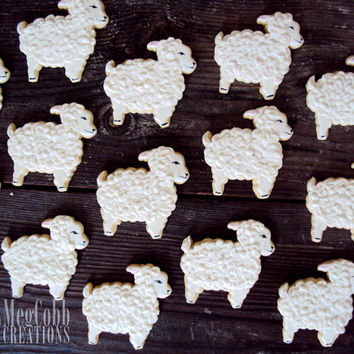 Large Spring Lamb Sugar Cookies, Easter, Passover, baby shower, baby, white, black, black sheep, white sheep, vanilla almond, lambs, cookies