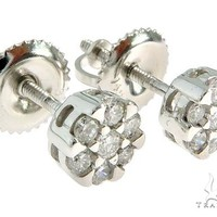 14K White Gold Prong Diamond Cluster Earrings 57046 Mens Style White Gold 14k Round Cut 0.33 ct