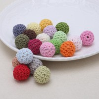 Round Wooden Crocheted Beads Colorful Woolen Teether Bead Toy Necklace-W128
