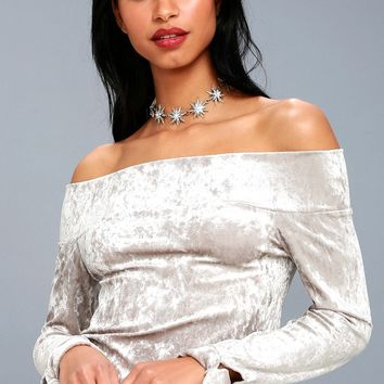 Happy-Go-Lovely Grey Velvet Off-the-Shoulder Top