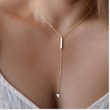 New fashion  Casual Fashion Metal Chain Bar Circle Lariat Triangle Punk Sexy Necklace
